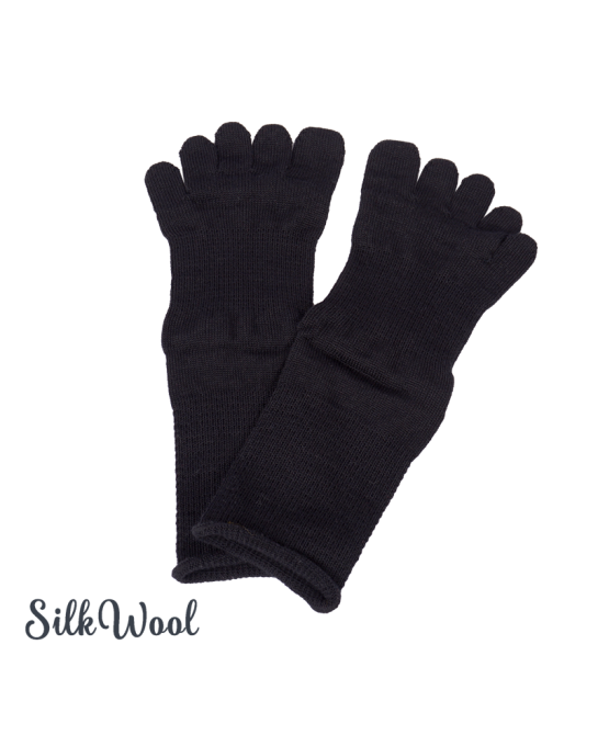 Silk Wool toe socks - Black